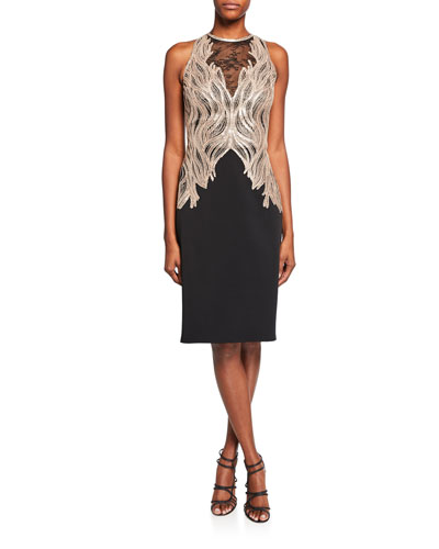 Sequin Lace High-Neck Sleeveless Crepe Sheath Dress