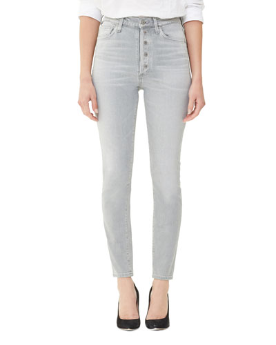 Olivia High-Rise Skinny Jeans with Exposed Button Fly, Zinc