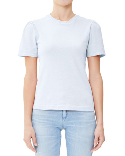 Hannah Crewneck Puff-Sleeve Cotton T-Shirt