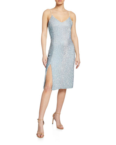 Denisa Sequin V-Neck Sleeveless Cocktail Dress