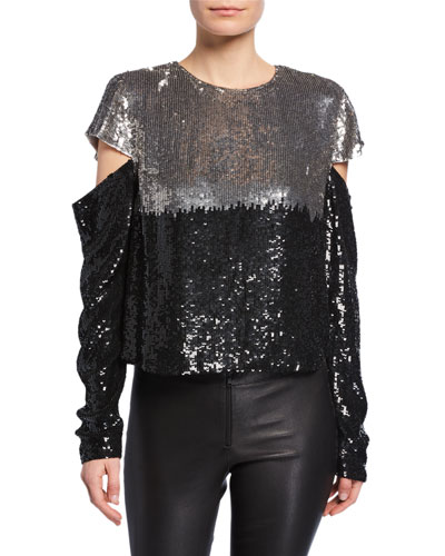 Mandy Sequined Slit-Sleeve Top