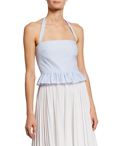 Striped Peplum Halter Top