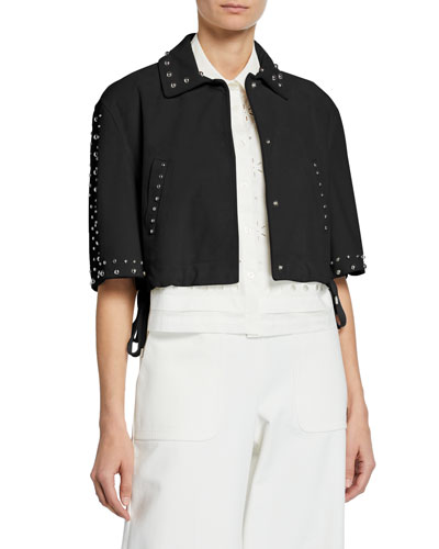 Studded Leather Cropped Jacket