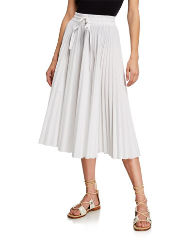 Pleated Cotton Drawstring Midi Skirt