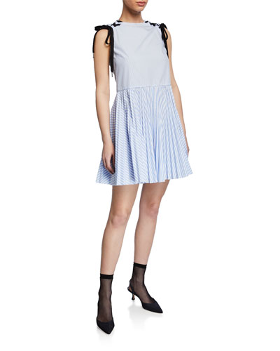 b414ac871d Striped Sleeveless Lace-Up-Shoulder Dress w  Pleated Skirt
