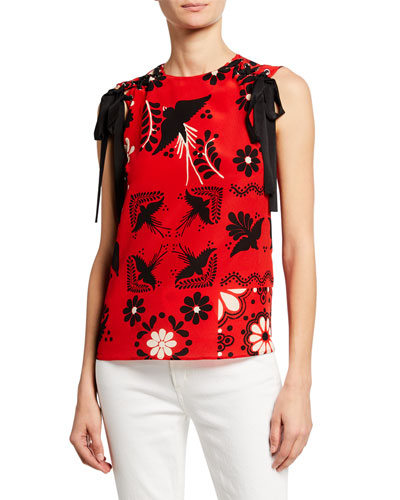 Printed Silk Crepe De Chine Tie-Shoulder Top