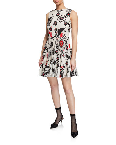 Printed Sleeveless Pleated Silk Crepe de Chine Dress