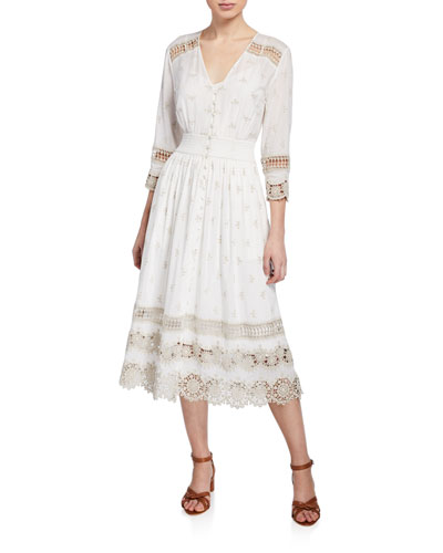 Darci Button-Front 3/4-Sleeve Dress w/ Lace Insets
