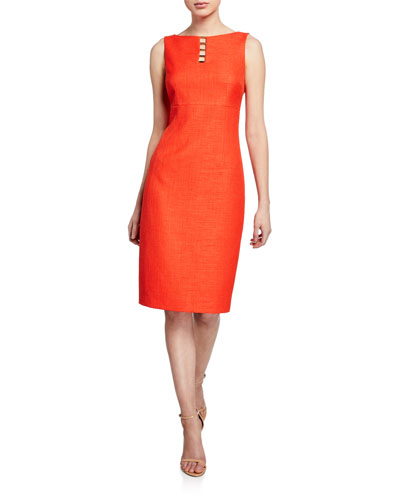 Doreen Boat-Neck Sleeveless Dress
