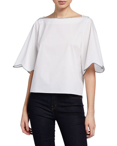 Orianna Scalloped Boxy Cropped Blouse