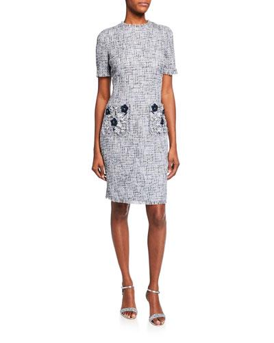 d3db145c29 Crewneck Short-Sleeve Tweed Dress with 3D Flower Pockets