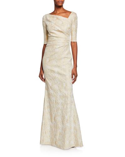 91bea4b2013 Draped Jacquard Half-Sleeve Gown