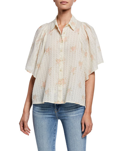 The Butterfly Floral-Print Button-Up Half-Sleeve Top