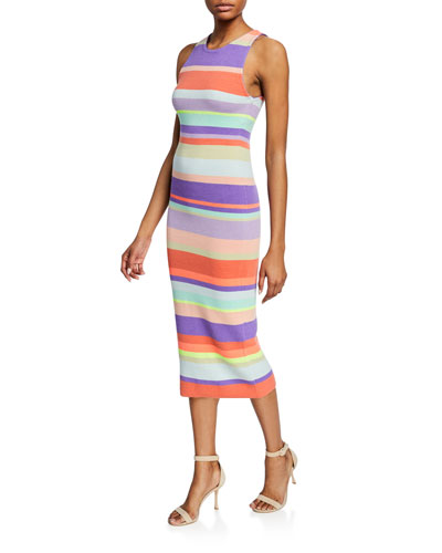 Jenner Striped Crewneck Sleeveless Slim Dress