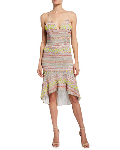 Amina Embroidered Plunging Sweetheart Fitted Dress