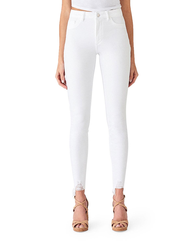 Dl Premium Denim Jeans CHRISSY ULTRA HIGH-RISE SKINNY JEANS W/ SHREDDED HEM