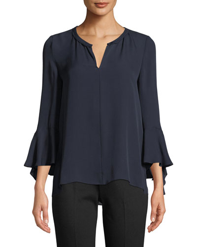 Shia Bell-Sleeve Silk Blouse