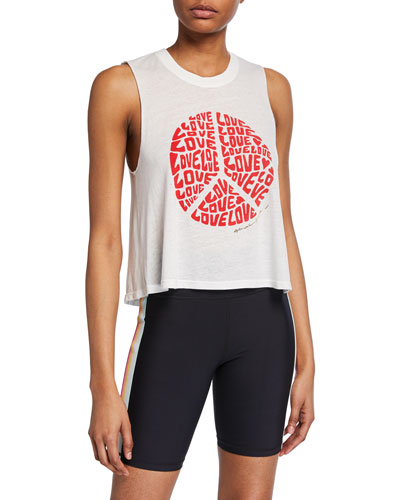 Love Peace-Sign Graphic Crop Tank