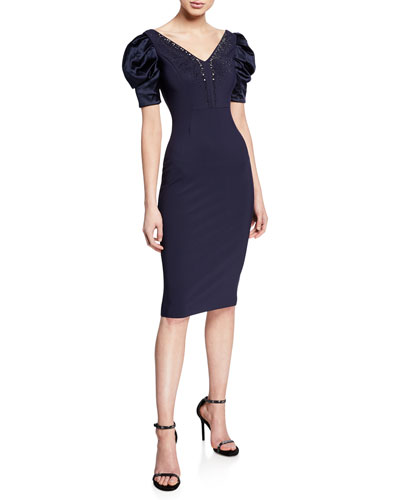 d672ca9659 Meve V-Neck Satin Puff-Sleeve Dress w  Bead Embellished Neckline