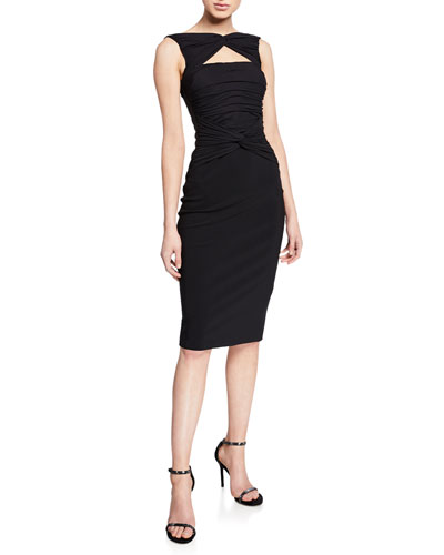 Audrine Sleeveless Keyhole Dress with Ruched Bodice