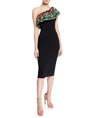 Imade Floral-Embroidered One-Shoulder Cocktail Dress
