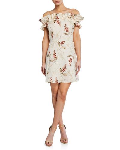 Ivie Off-Shoulder Embellished Dress
