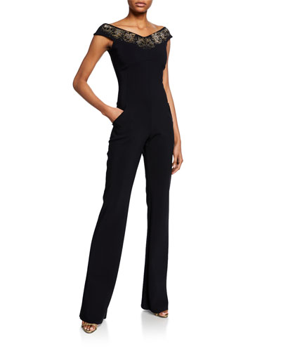 Eirini Off-the-Shoulder Cap-Sleeve Jumpsuit with Beaded Neckline