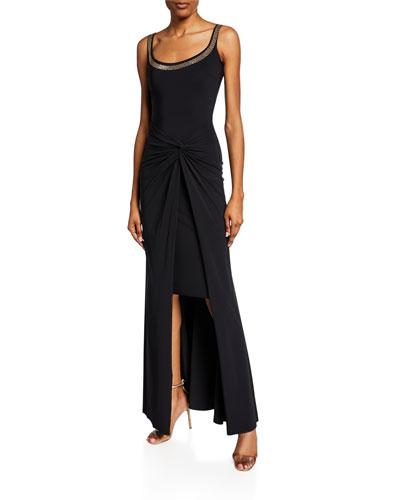 Kinga Beaded Scoop-Neck Sleeveless Gown w/ Knotted Skirt Overlay