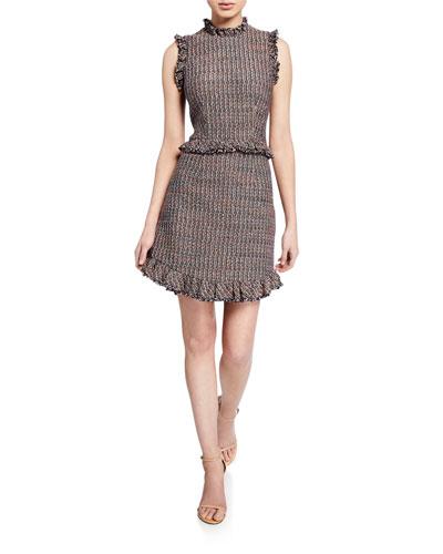 Sleeveless Tweed High-Neck Short Dress