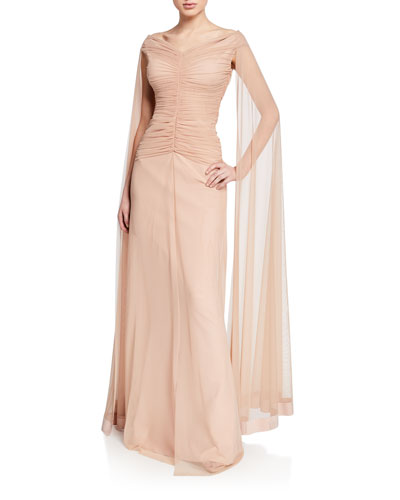 Aytana V-Neck Cap-Sleeve Illusion Gown w/ Ruched Bodice & Cape