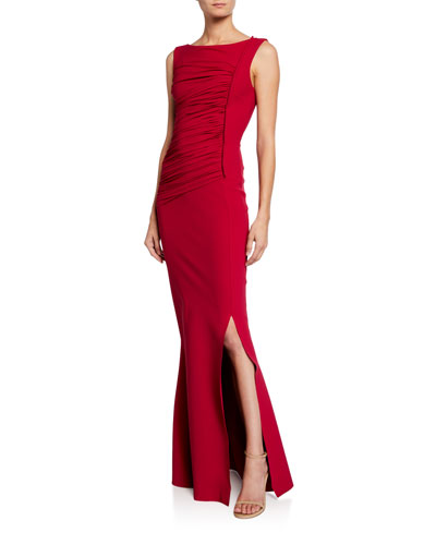 020743cb447 Dacia Boat-Neck Sleeveless Ruched Gown with Slit