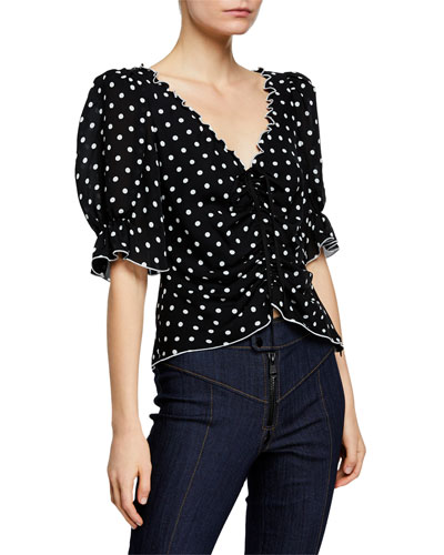 Kimberly Dot-Print Ruched Short-Sleeve Top