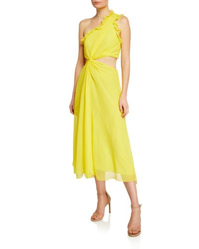 Corinne Ruffled Cutout One-Shoulder Midi Dress