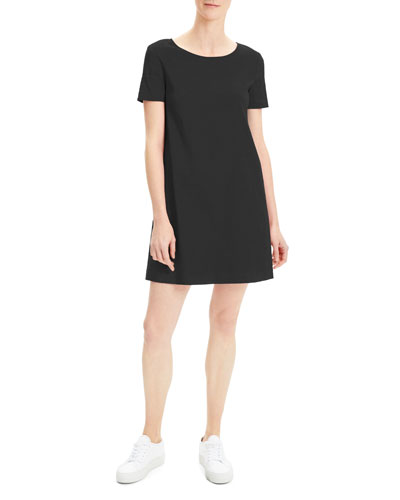 Short-Sleeve Crunch Wash Shift Dress