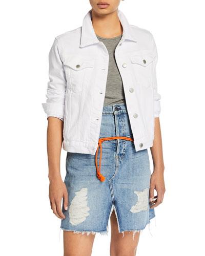 Ruby Contour Button-Front Stretch-Denim Jacket