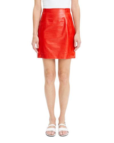 Varnished Lambskin Leather Mini Skirt