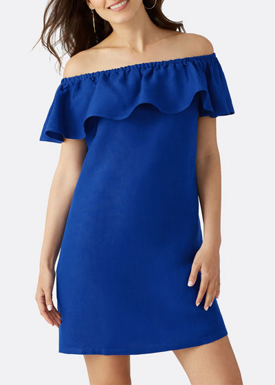 Off-the-Shoulder Short-Sleeve Linen Ruffle Dress