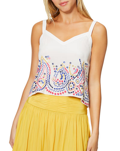 Margo V-Neck Cropped Tank with Embroidery