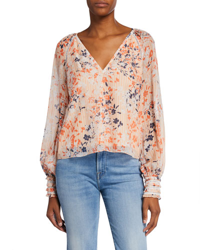 Constance Printed V-Neck Long-Sleeve Top