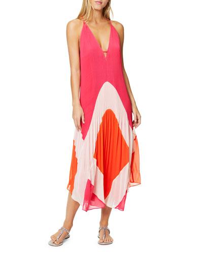 Jasmin V-Neck Sleeveless Pleated Maxi Dress