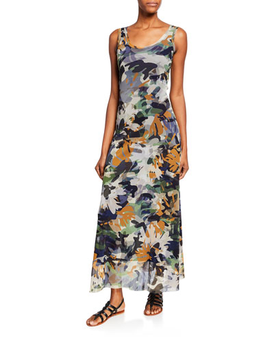 Camo-Print Scoop-Neck A-Line Tank Maxi Dress