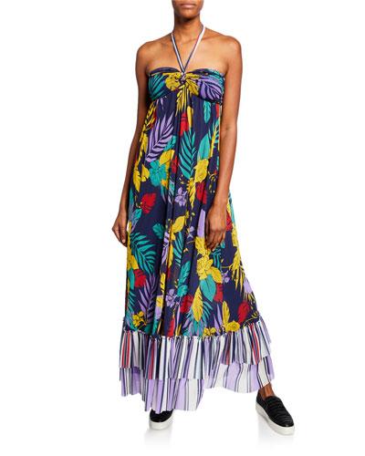 Patchwork Halter Maxi Dress