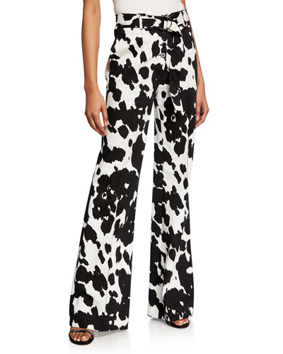 Joan Belted Animal-Print Boot-Cut Pants