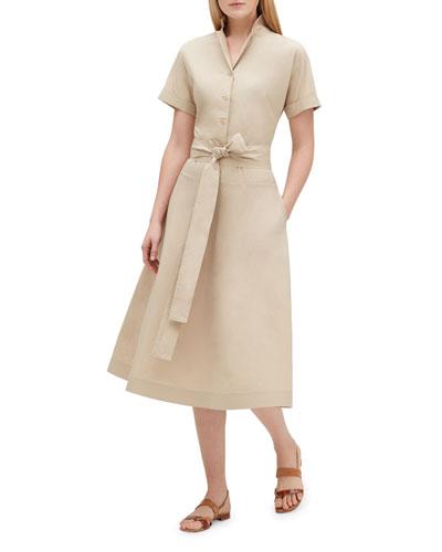 Varuni Short-Sleeve Belted Shirtdress