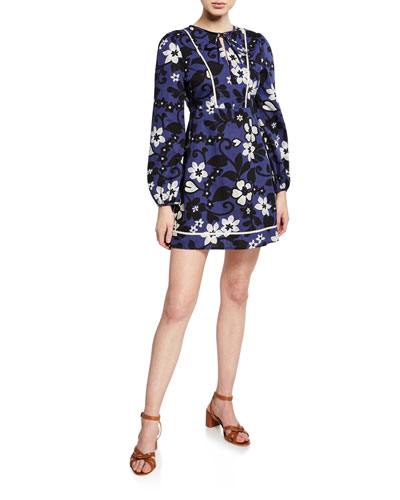 Chelsea Floral Long-Sleeve Mini Dress