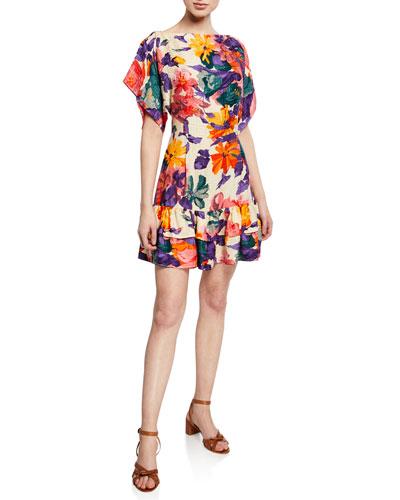 Hall Floral Silk Jacquard Short Dress