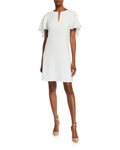 Theodore Flutter-Sleeve Keyhole Dress