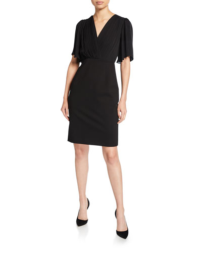 Tavara V-Neck Elbow-Sleeve Ponte Dress