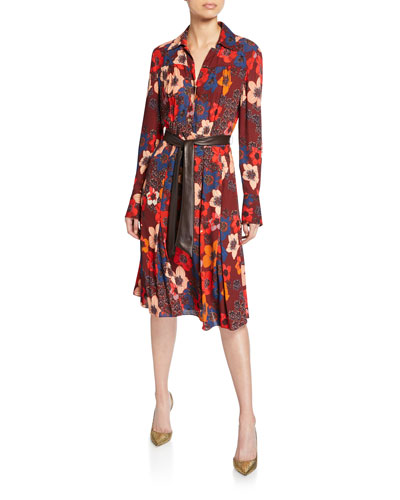 Brinx Floral Long-Sleeve Dress w/ Faux Leather Belt