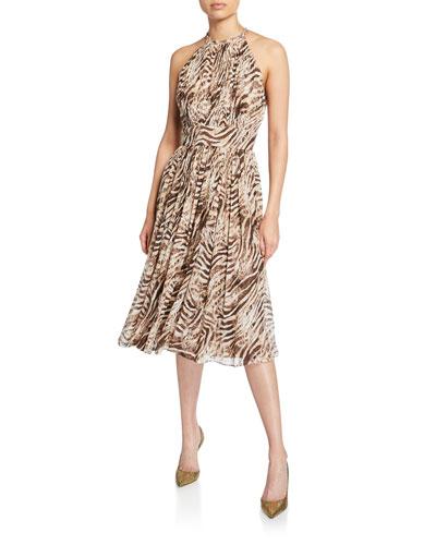 Dominica Tiger Stripe Halter Dress